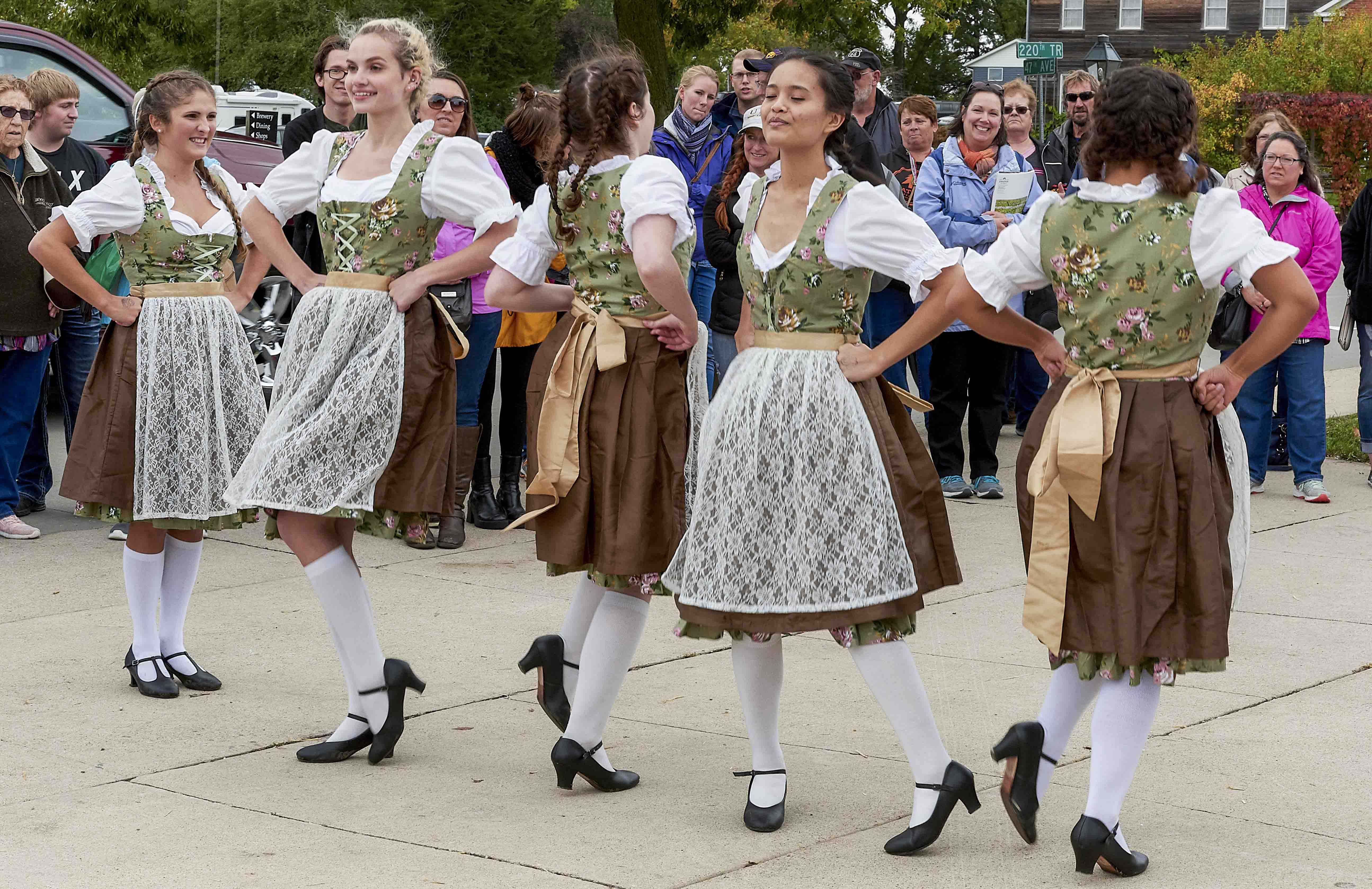 Amana Colonie Dancers dressed in traditional German Dirndl dresses
