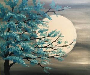 Painting of a teal tree with moon in the background