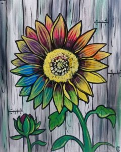 Painting of the Sunflower with a painted wood fence in the background.