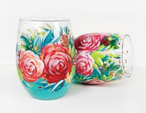 Wine glasses painted with a floral pattern